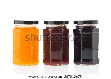 Jam jar bottles isolated on white background - stock photo