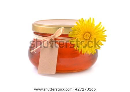 Jam jar. Jam jar with label. Dandelion jam in jar. Healthy jam. Jam jar isolated on white background. Jam jar.  - stock photo