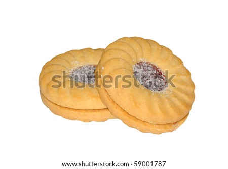 Jam (jelly) and cream ring biscuits (cookies), isolated on a pure white background - stock photo