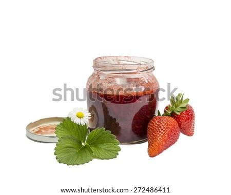 jam strawberry - spoon hand leaf fruit - stock photo