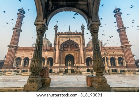 Jama Masjid, Old Delhi, India - stock photo