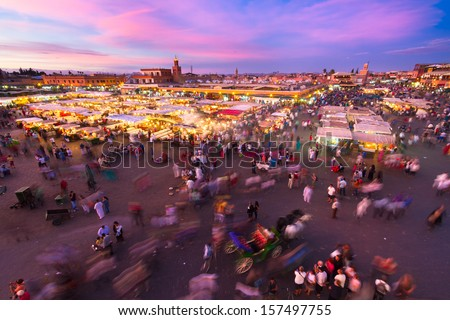 Jamaa el Fna (also Jemaa el-Fnaa, Djema el-Fna or Djemaa el-Fnaa) is a square and market place in Marrakesh's medina quarter (old city). Marrakesh, Morocco, north Africa. UNESCO Heritage of Humanity. - stock photo