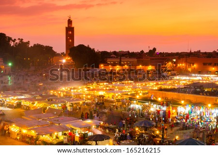 Jamaa el Fna also Jemaa el Fnaa, Djema el Fna or Djemaa el Fnaa, square and market place in Marrakesh medina quarter. Morocco, Africa. UNESCO Masterpiece of Oral and Intangible Heritage of Humanity. - stock photo
