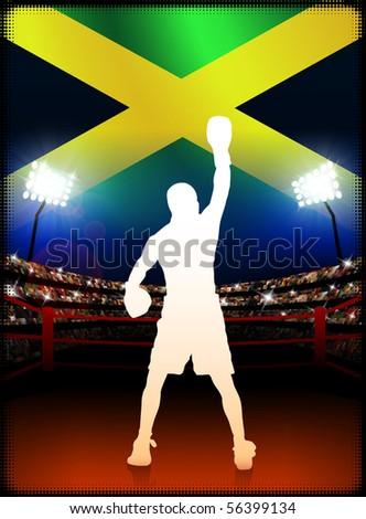 Jamaica Boxing on Stadium Background Original Illustration - stock photo