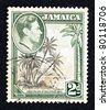 JAMAICA - CIRCA 1938: Stamp printed in Jamaica showing coconut trees at Columbus Cove, Jamaica, with a head profile of King George VI, circa 1938 - stock photo