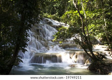 Jamaica. Dunn's River Falls. - stock photo