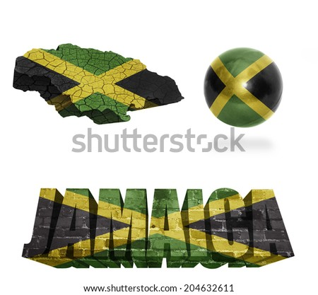 Jamaica flag and map in different styles in different textures