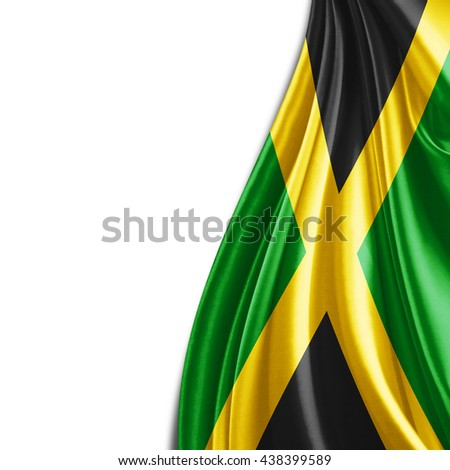 Jamaica  flag  of silk with copyspace for your text or images and white background-3D illustration - stock photo