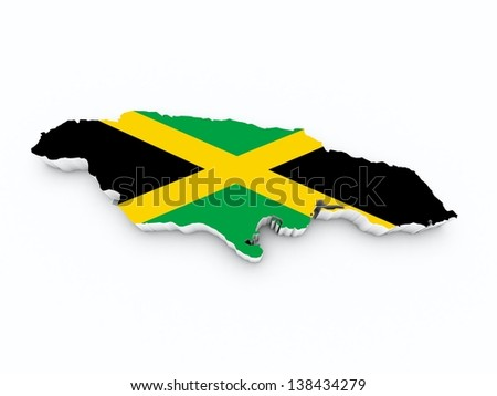 jamaica flag on 3d map