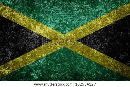 Jamaica flag painted on concrete - stock photo