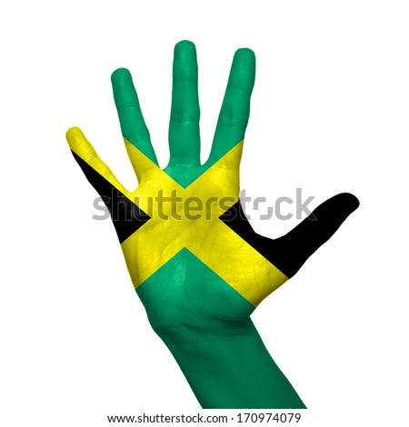 Jamaica flag painted on hand over white background - stock photo