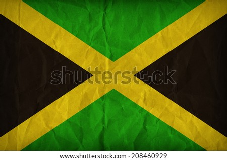 Jamaica flag pattern on the paper texture ,retro vintage style - stock photo