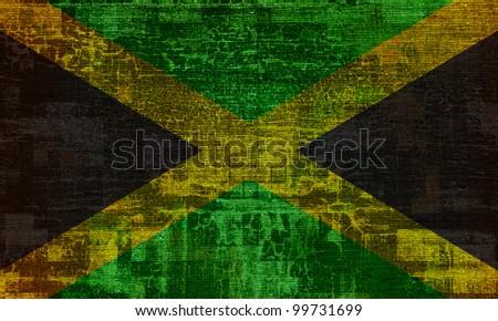 Jamaica grunge flag background - stock photo