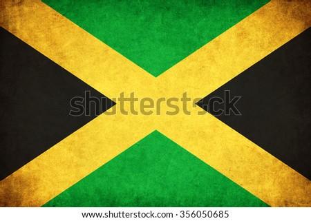 Jamaica grunge flag background illustration of country - stock photo