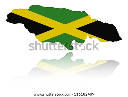 Jamaica map flag with reflection illustration