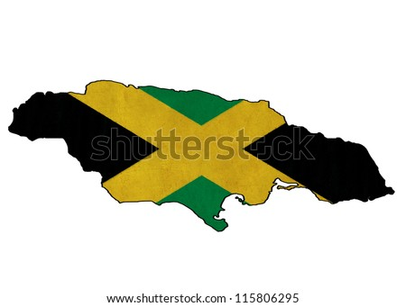Jamaica map on Jamaica flag drawing ,grunge and retro flag series