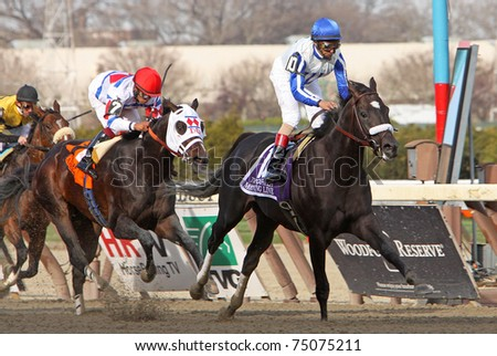 "JAMAICA, NY - APR 9: ""Morning Line"", under jockey John Velazquez, wins The Carter Handicap at Aqueduct Race Track on Apr 9, 2011 in Jamaica, NY."