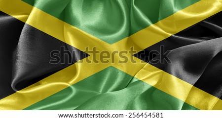 Jamaica satin flag - stock photo