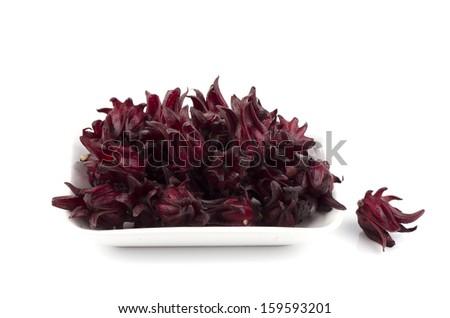 Jamaica Sorrel, Red Sorrel, Roselle and Rozelle (Hibiscus sabdariffa L.).  - stock photo