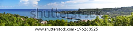 Jamaica. The sea in the sunny day and mountains, panorama - stock photo