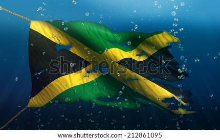 Jamaica Under Water Sea Flag National Torn Bubble 3D - stock photo