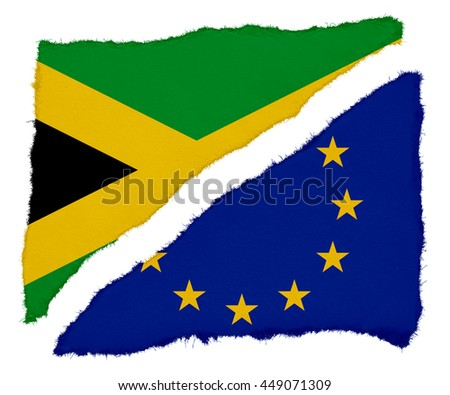 Jamaican and EU Flag Torn Paper Scraps Isolated on White Background