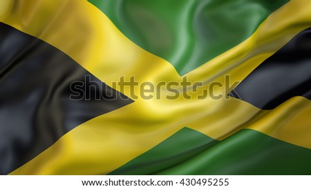 Jamaican flag waving in the wind 3d rendering - stock photo
