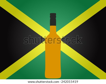 Jamaican Flag with a Bottle of Rum - stock photo