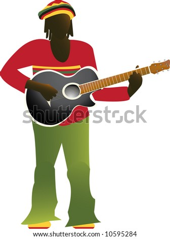Jamaican man in bright clothes playing guitar - stock photo
