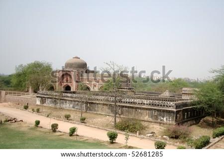 Jamali-Kamali's Mosque and Tomb at Mehrauli Archaeological Park, New Delhi - stock photo