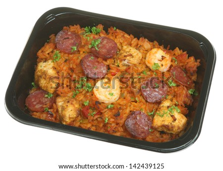 Jambalaya ready meal with chicken, prawns and pepperoni sausage. - stock photo
