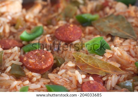 Jambalaya with chicken and sausage - stock photo