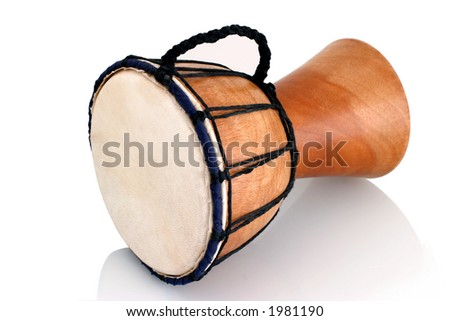 Jambe Drum - Horizontal Profile - Balinese gamelan making mahogany wood drum - stock photo