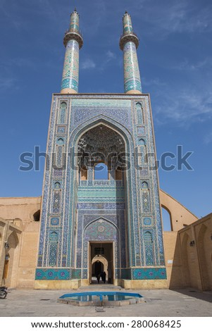 Jame Mosque of Yazd, in Iran. The mosque is crowned by a pair of minarets, the highest in Iran.