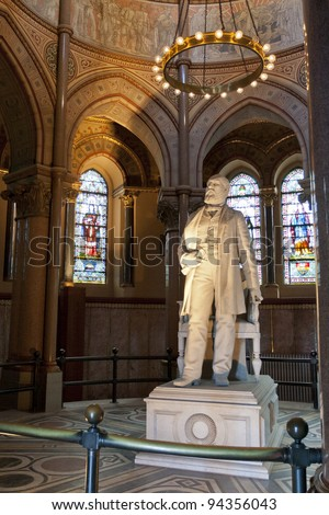 James A. Garfield statue in the Memorial at Lakeview Cemetery. Cleveland, Ohio. - stock photo