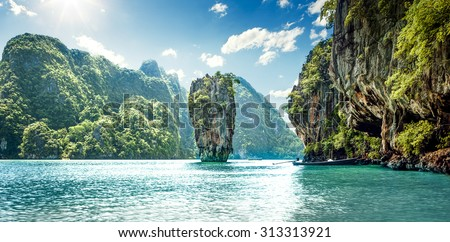 James Bond Island in Phang Nga Bay, Thailand - stock photo