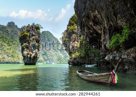 James Bond island, Khao Phing Kan Pang Nga bay. Thailand - stock photo