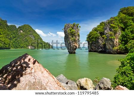 James Bond Island on Phang Nga Bay, Thailand - stock photo