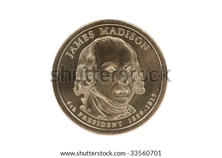James Madison Presidential Dollar coin with clipping path. - stock photo