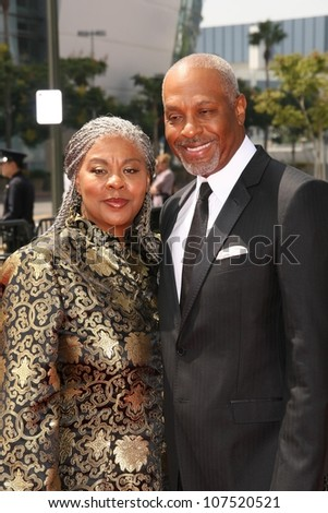 James Pickens and Wife  At the 60th Primetime Creative Arts Emmy Awards Red Carpet. Nokia Live Theater, Los Angeles, CA. 09-13-08