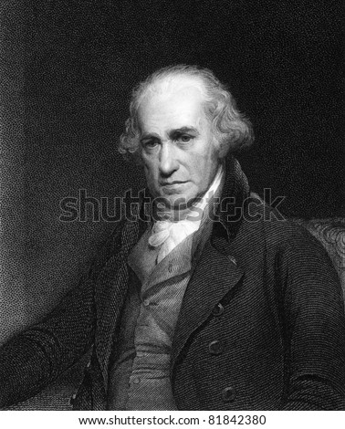 James Watt (1736-1819). Engraved by C.E.Wagstaff and published in Gallery of Portraits with Memoirs encyclopedia, United Kingdom, 1833. - stock photo