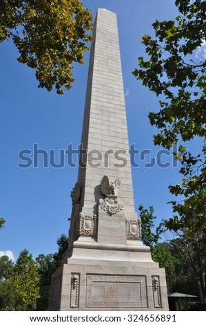 JAMESTOWN, VA - SEP 9 - Tercentenary Monument, also known as Jamestown Monument, was built as part of the 300th anniversary of the Jamestown Colony in Virginia, as seen on Sep 9, 2015. - stock photo