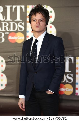 Jamie Cullum arriving for the Brit Awards 2013 at the O2 Arena, Greenwich, London. 20/02/2013 Picture by: Henry Harris - stock photo