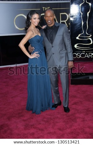 Jamie Foxx and daughter Corinne at the 85th Annual Academy Awards Arrivals, Dolby Theater, Hollywood, CA 02-24-13 - stock photo
