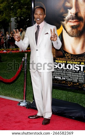 Jamie Foxx at the Los Angeles premiere of 'The Soloist' held at the Paramount Studios Theatre in Hollywood on April 20, 2009. - stock photo