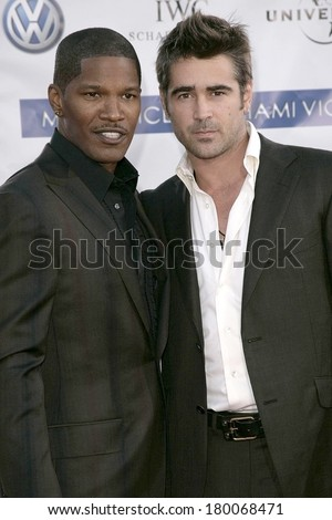 Jamie Foxx, Colin Farrell at MIAMI VICE Premiere, Mann's Village Theatre in Westwood, Los Angeles, CA, July 20, 2006 - stock photo
