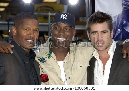 Jamie Foxx, Tyrese Gibson, Colin Farrell at Premiere of MIAMI VICE, Mann's Village Theatre in Westwood, Los Angeles, CA, July 20, 2006 - stock photo