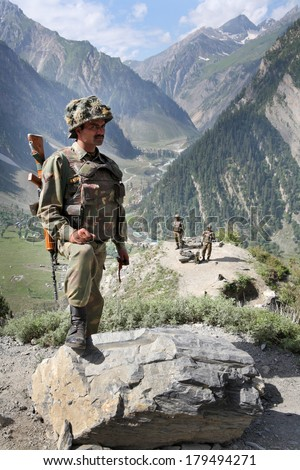 JAMMU AND KASHMIR, INDIA - JULY 21, 2006: Indian Army checkpoint in Kashmir Himalayas - stock photo