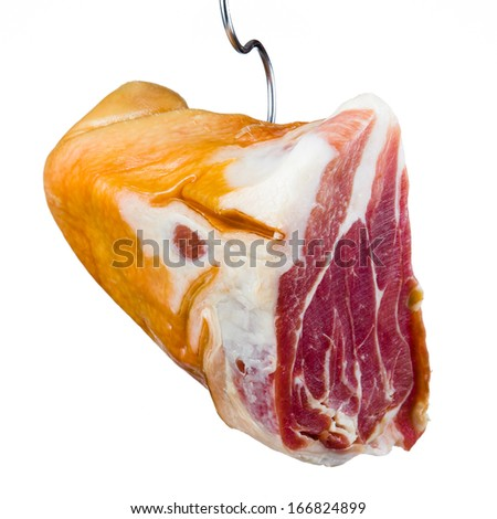 Jamon. Meat is hanging on hook. White background - stock photo