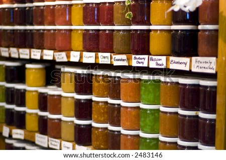 Jams, and preserves on shelves at historic St. Jacob's, Ontario, Canada. Shallow focus. - stock photo